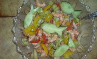 Салат из креветок и овощей(вариант)