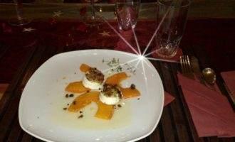 Карпаччо из тыквы с запечённым козьим сыром