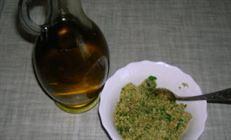Салат из печеных баклажанов с грецкими орехами и травами по-гречески