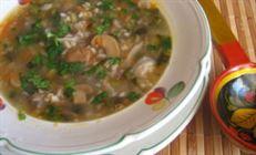 Суп с перловкой и грибами.