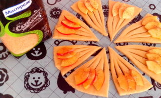 Конвертики из творожного теста с яблоками
